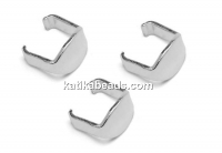 Bail for link, rhodium plated 925 silver, 5.5mm - x4