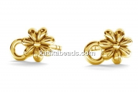 Earring findings flower, gold plated 925 silver - x1pair