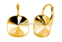 Earring findings, gold plated 925 silver, square, click, for Swarovski 4470 12mm - x1pair