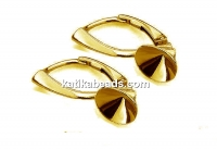 Earring click, base, gold plated 925 silver, chaton 6mm - x1pair
