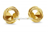 Earring findings,  gold plated 925 silver, rivoli 6mm - x1pair