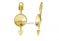 Pendant base, gold plated 925 silver, arrow, for rivoli 8mm - x1