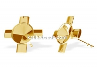 Earring findings cross, gold plated 925 silver, rivoli 6mm - x1pair