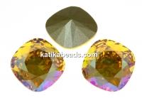 Swarovski, fancy square, light topaz shimmer, 10mm - x1