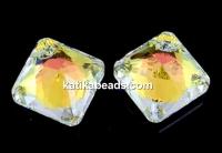 Swarovski, Princess cut pendant, aurore boreale, 16mm - x1