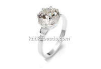 Ring base, with 6mm zirconia crystal, 925 silver, inside 18.2mm - x1