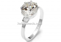 Ring base, with 12mm zirconia crystal, 925 silver, inside 18.8mm - x1