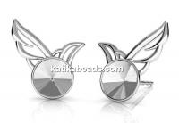 Earring findings, wing, 925 silver, rivoli 6mm - x1pair