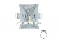 Ring zirconia crystal 16x12mm, 925 silver, 17.2mm inside - x1
