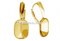 Earring findings, gold plated 925 silver, for Swarovski 4568 14x10mm - x1pair