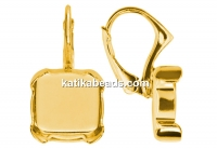 Earring findings, gold plated 925 silver, square for Swarovski 4470 and 4461 12mm - x1pair