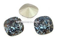 Swarovski, fancy square, aquamarine black patina, 12mm - x1