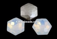 Swarovski 4683, fantasy hexagon, white opal, 10mm - x1