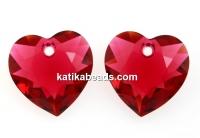 Swarovski, heart pendant, scarlet, 10.5mm - x2