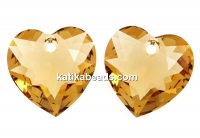 Swarovski, heart pendant, light colorado topaz, 10.5mm - x2