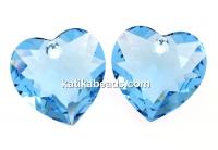 Swarovski, heart pendant, aquamarine, 14.5mm - x1