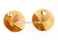 Swarovski, rivoli pendant, light colorado topaz shimmer, 6mm - x10