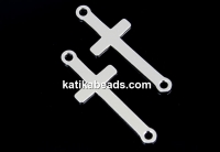 Link, cross, rhodiu plated 925 silver, 23mm - x1