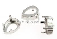 Swarovski rhodium-plated link base 4320, 18mm - x2