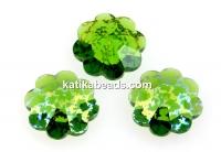 Swarovski, marguerite flower, fern green white patina, 12mm - x4