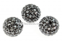 Swarovski, pave beads, jet hematite, 8mm - x1