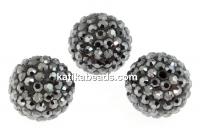 Swarovski, pave beads, jet hematite, 10mm - x1