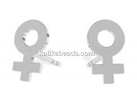 Earrings woman symbol,  925 silver, - x1pair
