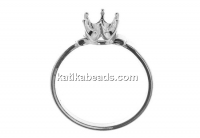 Ring base, 925 silver, chaton 6mm, inside 18mm - x1