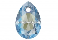 Swarovski, drop pendant, aquamarine shimmer, 11.5mm - x2