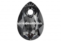 Swarovski, drop pendant, silver night, 9mm - x2