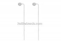 Earring findings with 4mm ball, chain, 925 silver, 68mm - x1pair