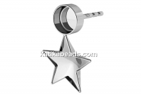 Earring base, 925 silver, ceralun and fancy star 10mm - x1pair