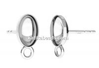 Earring findings, 925 silver, 4120 fancy rivoli 8x6mm - x1pair
