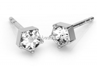 Earring findings, 925 silver rhodium plated, chaton 3mm - x1pair