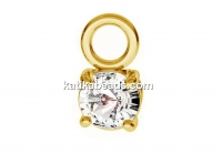 Pendant crystal, gold plated 925 silver, 3.5x6.5mm - x1