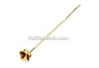 Earring findings, gold plated 925 silver, rivoli flower 10mm - x1pair
