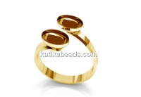 Ring base,  gold plated 925 silver, for 2 fancy rivoli 4122, 14x10mm, adjustable, - x1