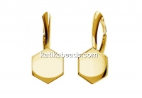 Earring click, base, gold plated 925 silver, for 10mm Swarovski 4683 - x1pair