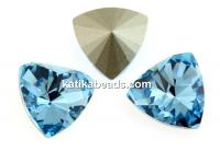 Swarovski, kaleidoscope triangle fancy rivoli, aquamarine, 14mm - x1