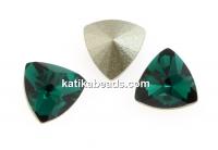Swarovski, kaleidoscope triangle fancy rivoli, emerald, 6mm - x2
