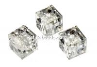 Swarovski, cube bead, crystal silver patina, 6mm - x2