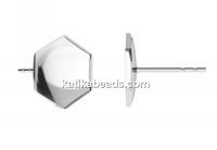 Earring  base, 925 silver, for 10mm Swarovski 4683 - x1pair