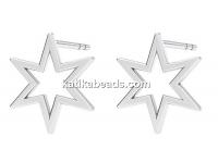Earring findings star, 925 silver- x1pair