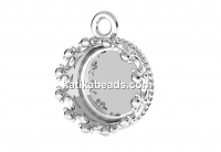 Pendant base, for ceralun and crystals, 925 silver, 10.5mm - x1
