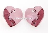 Swarovski, heart pendant, antique pink, 14mm - x2