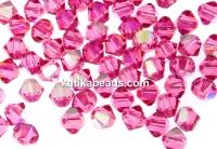 Preciosa, bicone bead, rose AB, 4mm - x40