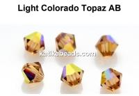 Preciosa, bicone bead, light colorado topaz AB, 4mm - x40