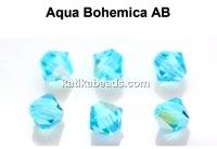Preciosa, bicone bead, aqua bohemica AB, 4mm - x40
