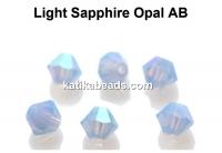Preciosa, bicone bead, light sapphire opal AB, 4mm - x40