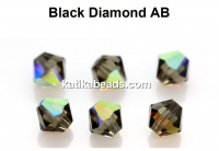 Preciosa, bicone bead, black diamond AB, 4mm - x40